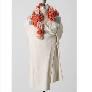 Anthropologie Sleeping in Snow Floral Patch Wrap